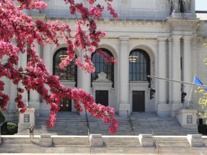 Photograph of the front entrance to the Connecticut State Library and Supreme Court building in Hartford