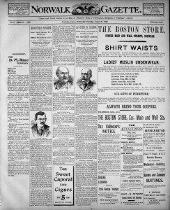 Thumbnail image of page 1 of the newspaper: Daily Norwalk Gazette, Aug. 28, 1895