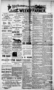 Thumbnail image of page 1 of the newspaper: Wethersfield Weekly Farmer, June 4, 1887