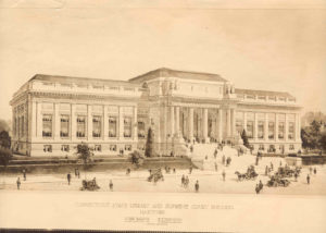 Pre 1909 Artists Drawing of The Connecticut State Library